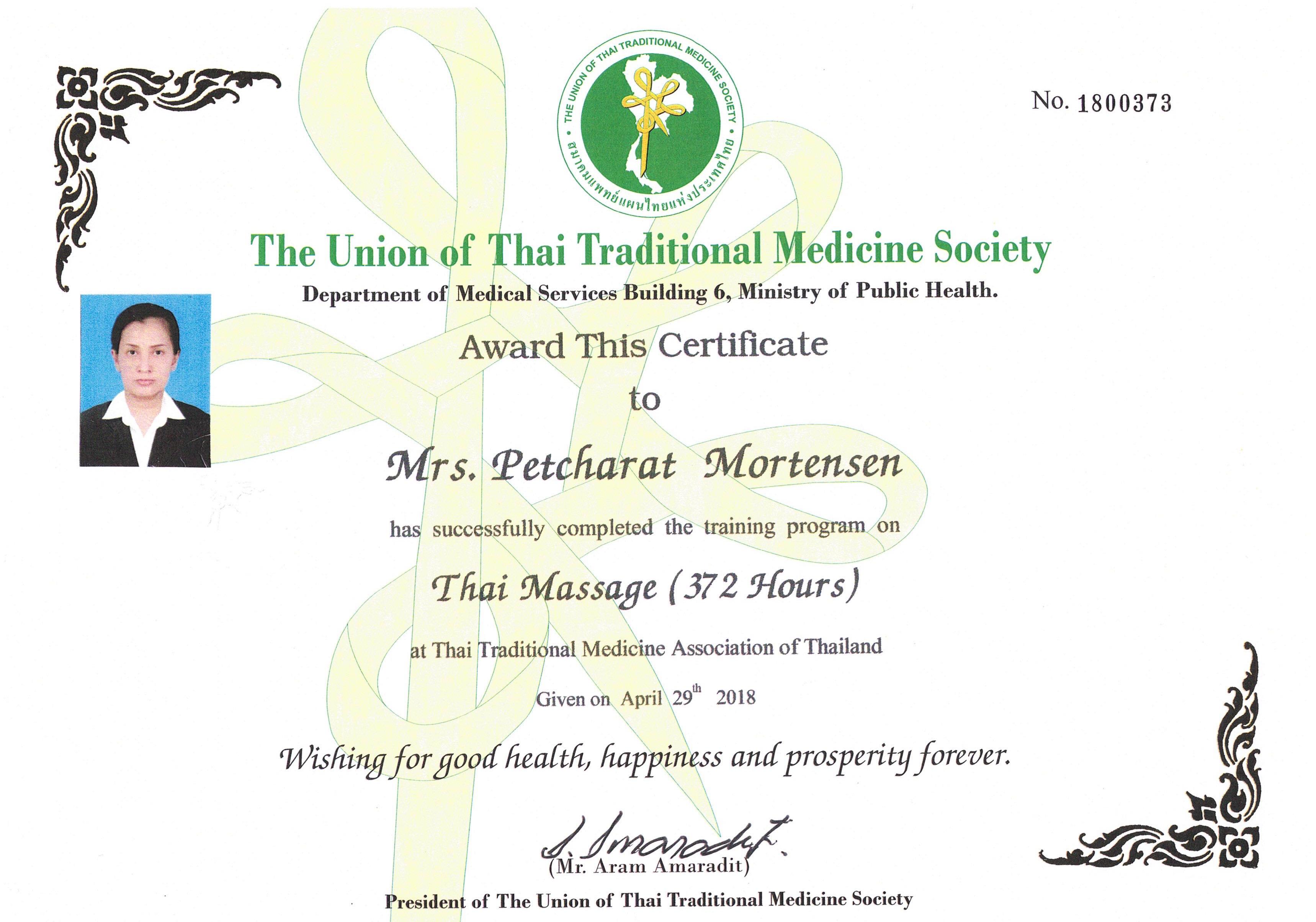 Certifikat Cat Thaimassage