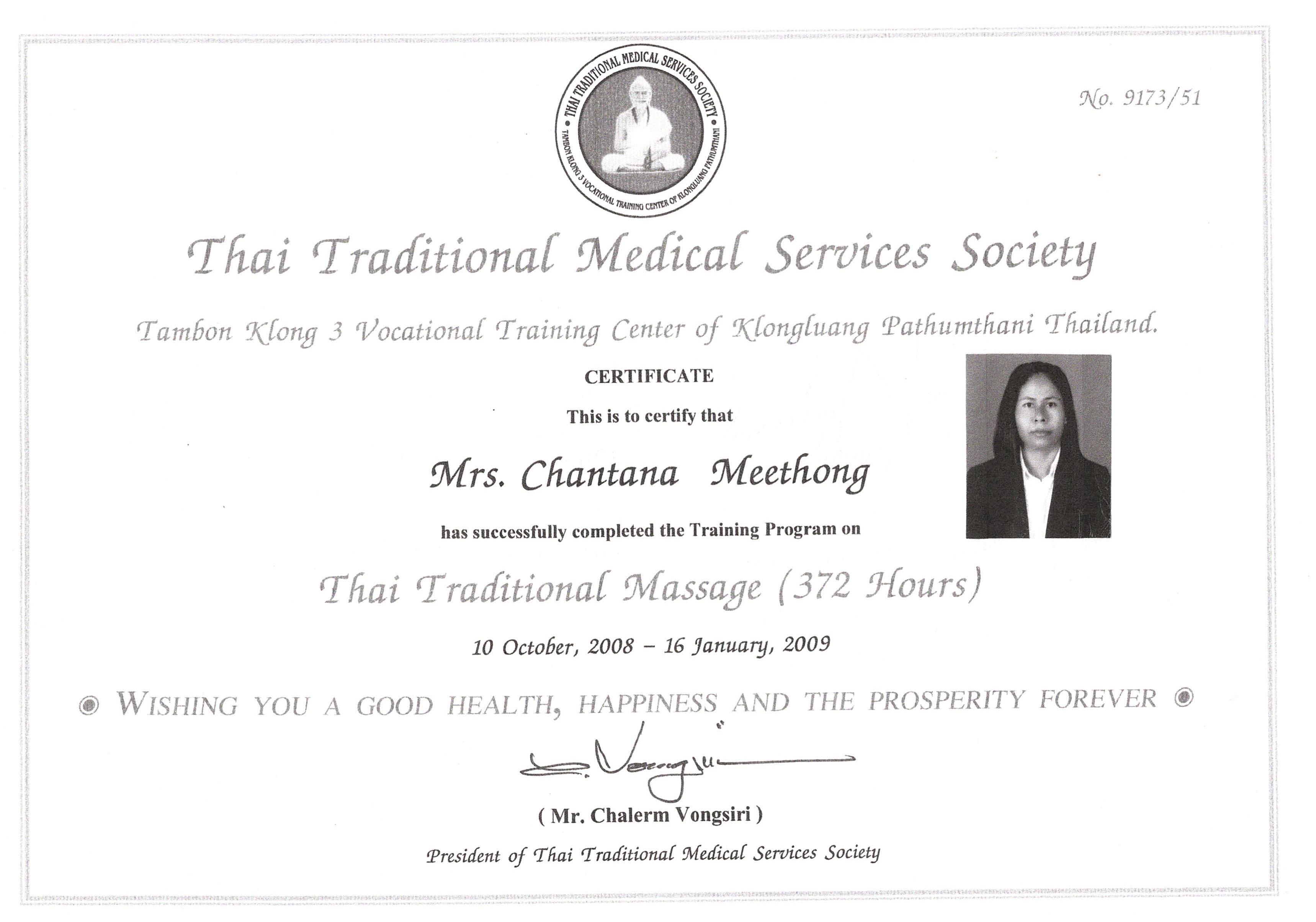 Certifikat massage Chantana