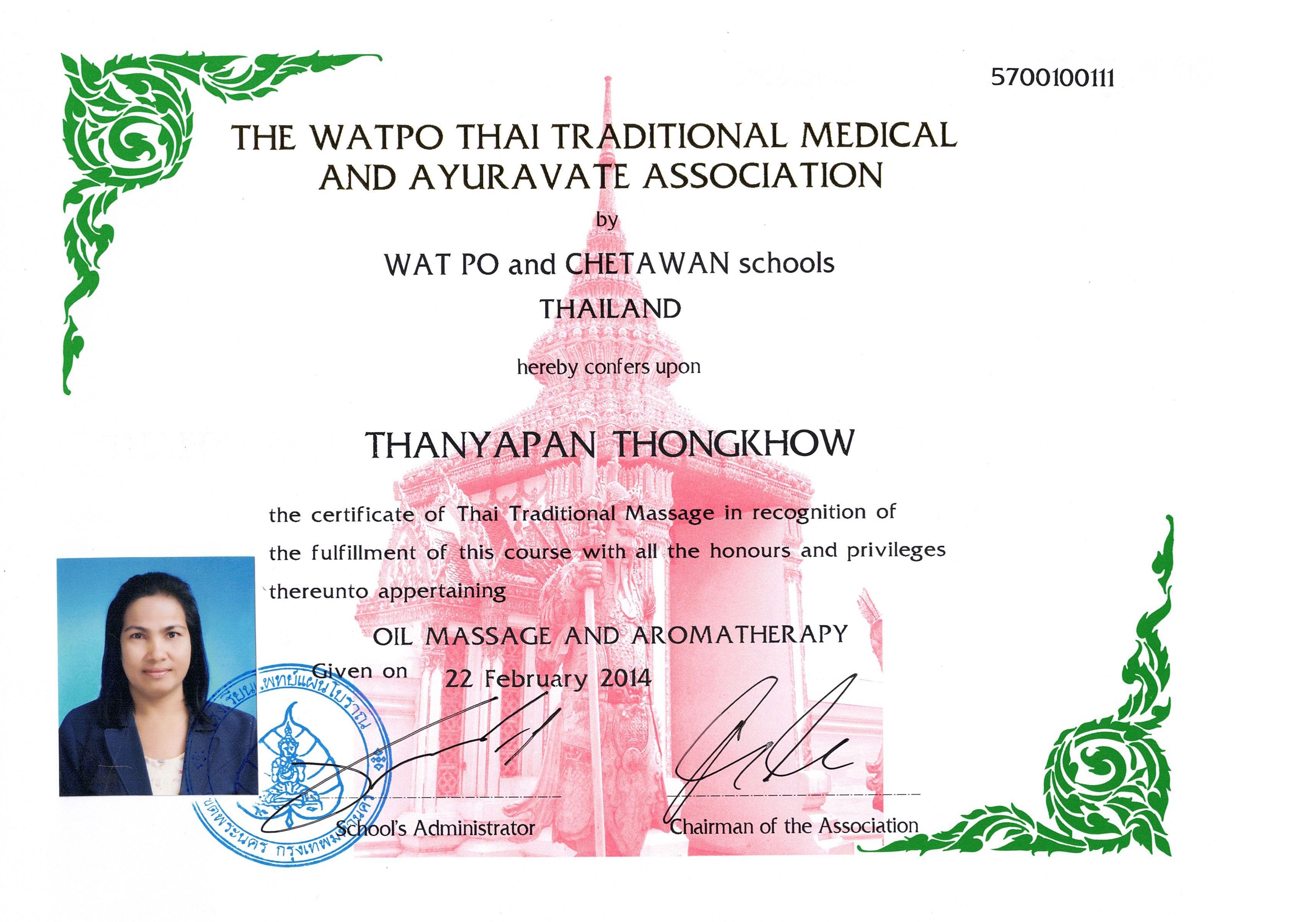 Massage certifikat Thanyapan